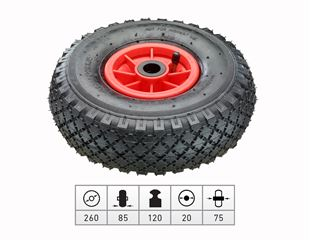 Spare pneumatic wheel with plastic wheel rim