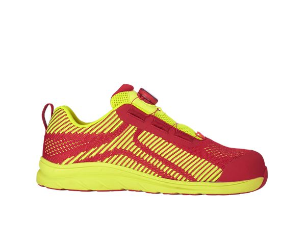 e.s. S1 Safety shoes Tegmen II low fiery red/high-vis yellow