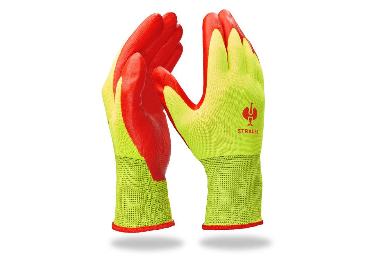 Coated: Nitrile foam gloves Flexible Foam + high-vis yellow/red