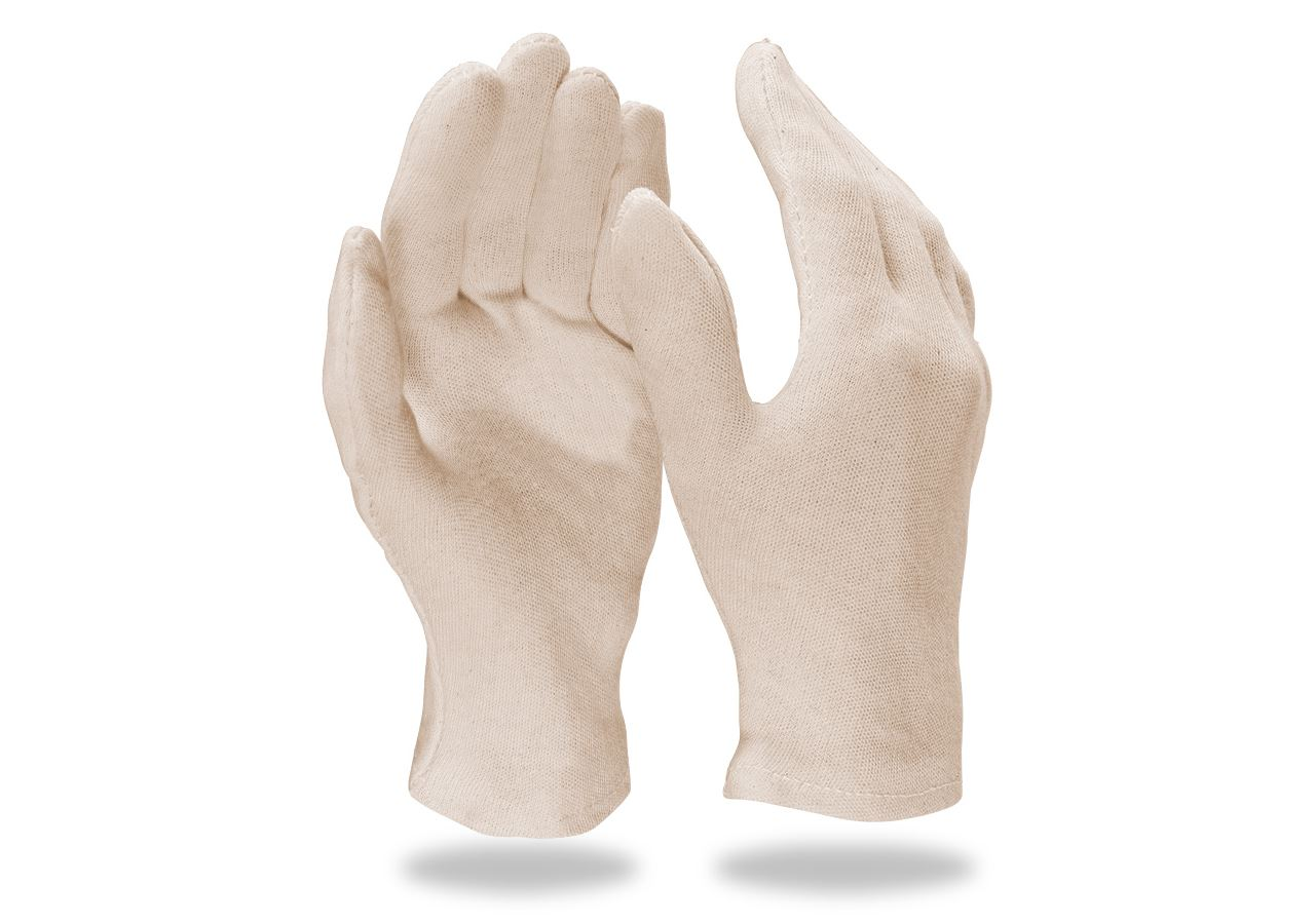 Textile: Cotton fourchette gloves, natural,pack of 12 + white