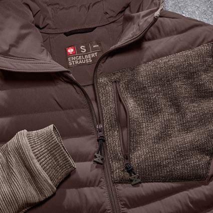 Work Jackets: Hybrid hooded knitted jacket e.s.motion ten + chestnut melange 2