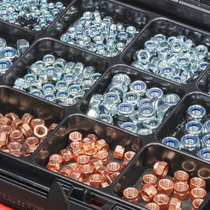 Nuts: Hex nuts DIN 985 in STRAUSSbox 118 midi 2