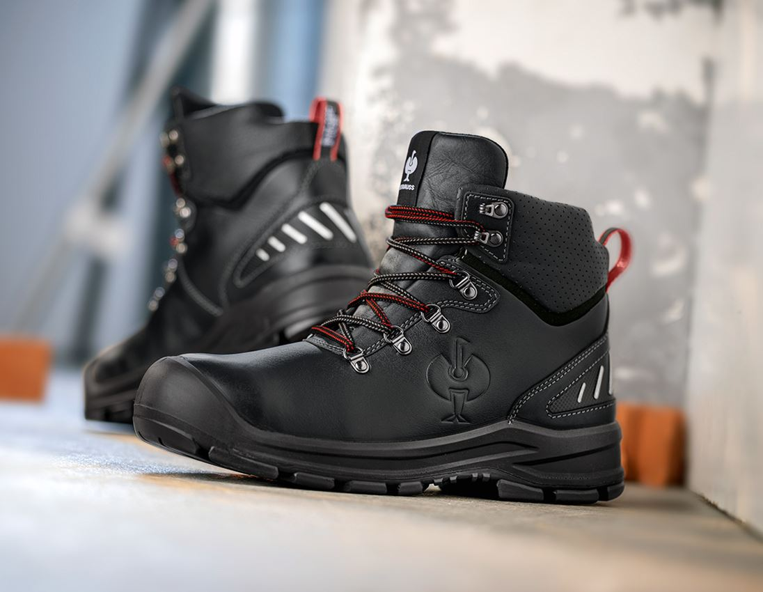 S3: S3 Safety shoes e.s. Umbriel II mid + black/straussred