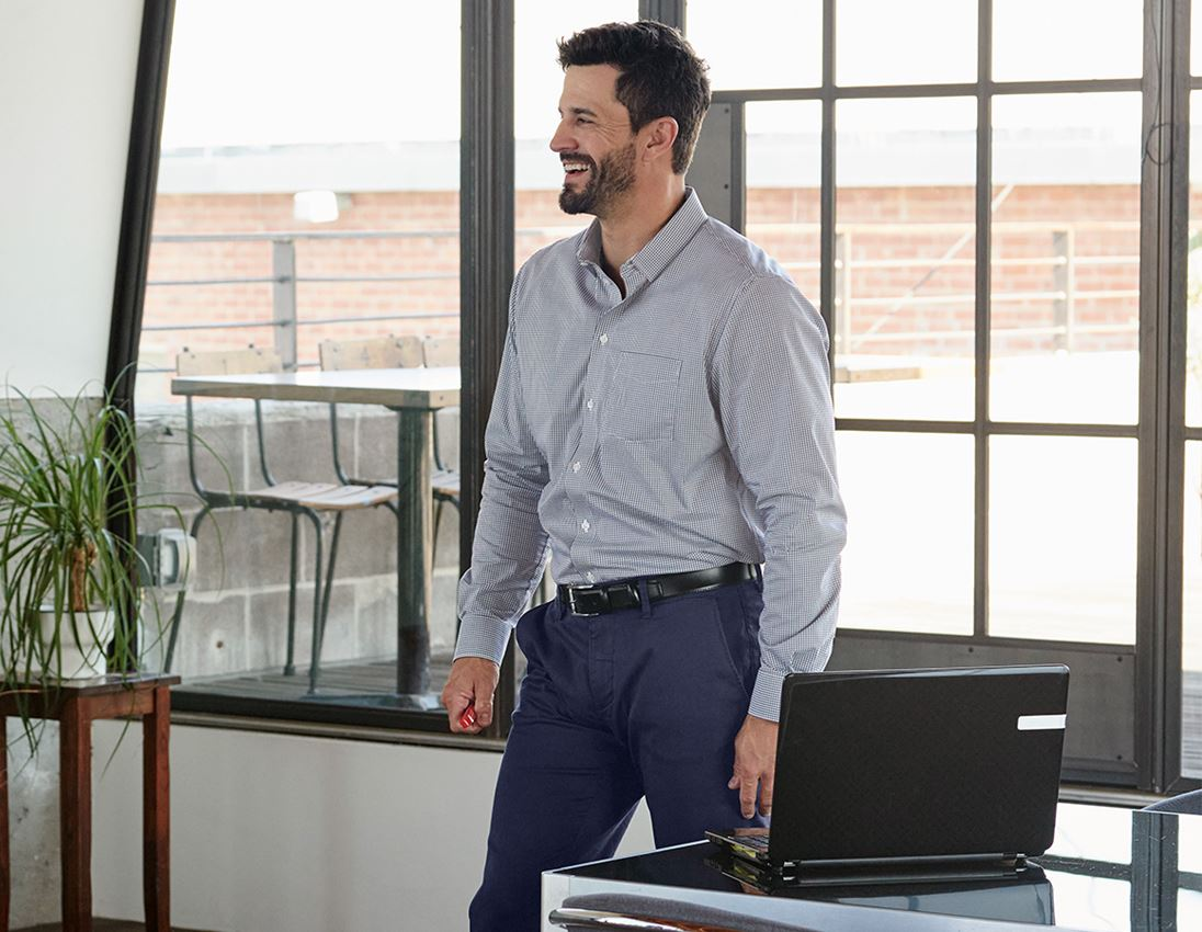 Shirts, Pullover & more: e.s. Business shirt cotton stretch, comfort fit + navy checked 2