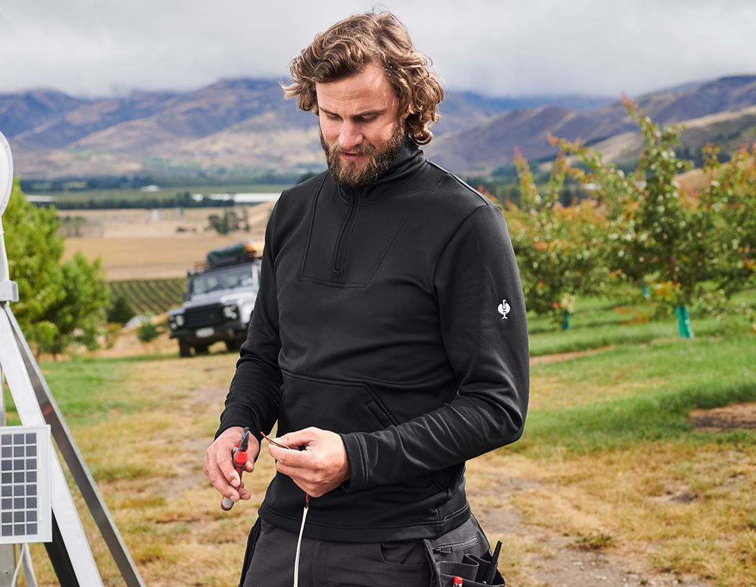 Shirts, Pullover & more: Functional-troyer thermo stretch e.s.concrete + black