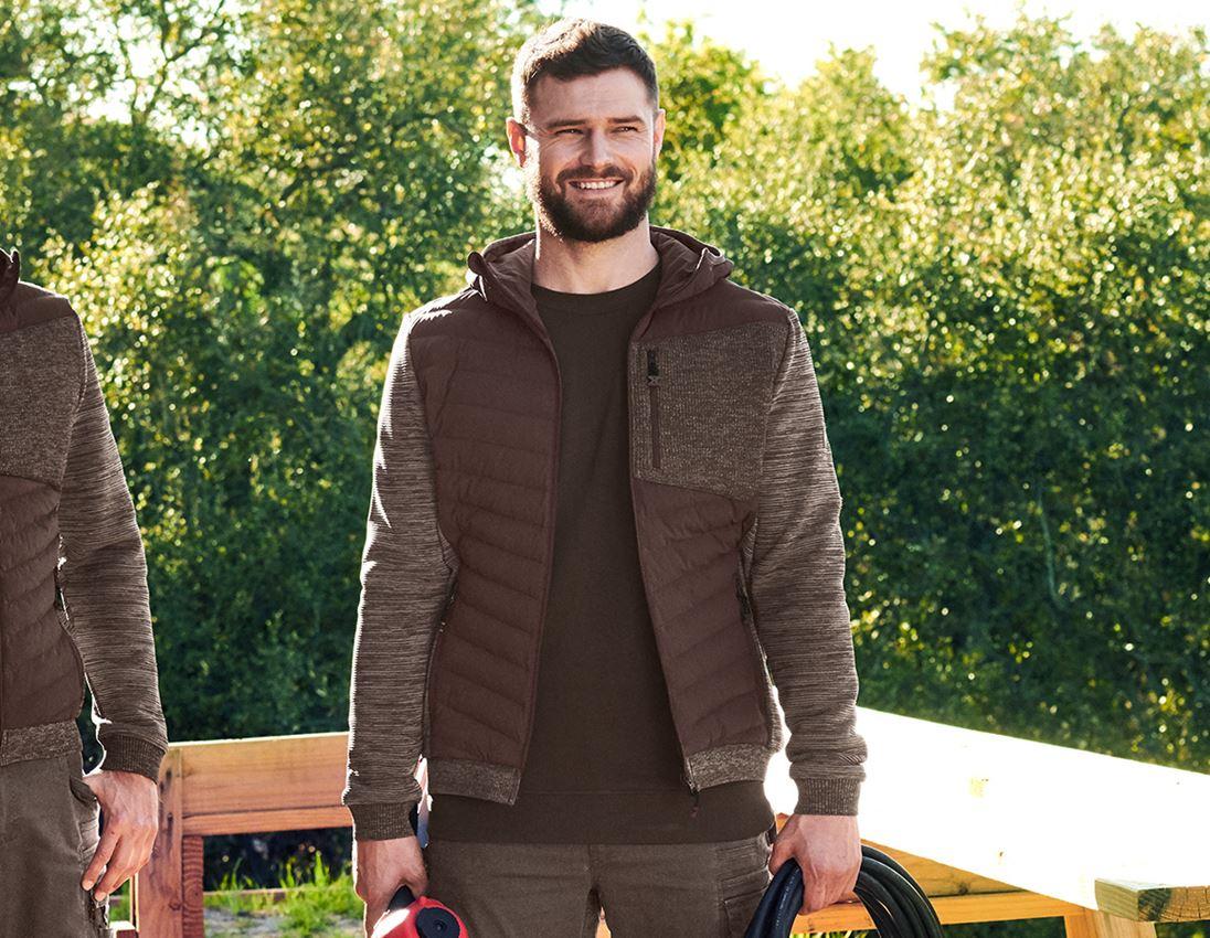 Work Jackets: Hybrid hooded knitted jacket e.s.motion ten + chestnut melange