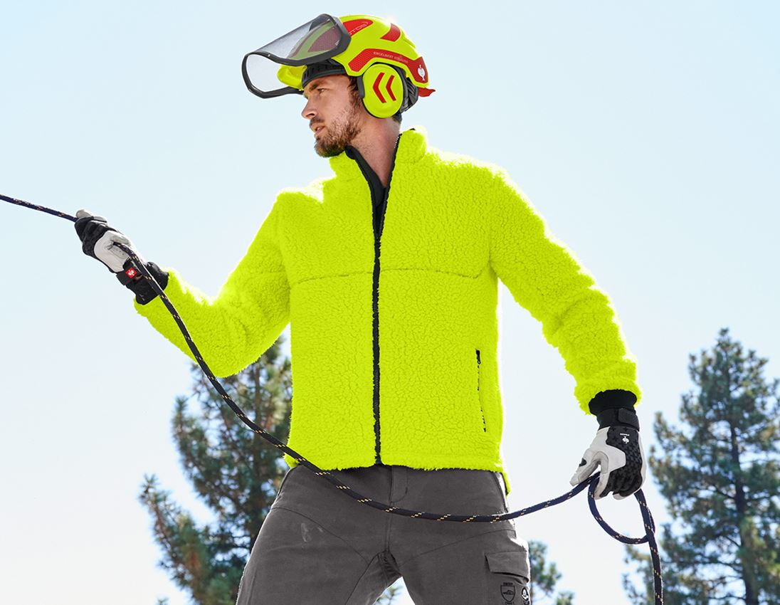 Work Jackets: e.s. Forestry faux fur jacket + high-vis yellow