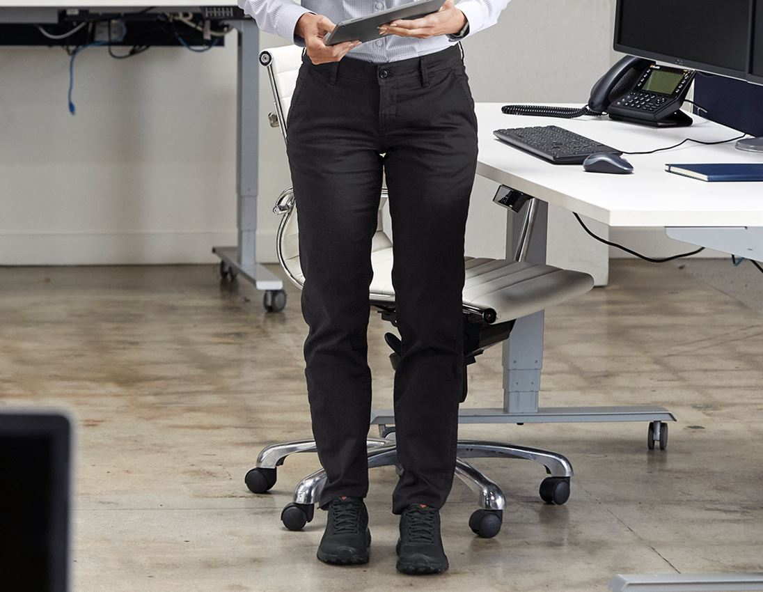 Work Trousers: e.s. 5-pocket work trousers Chino, ladies` + black