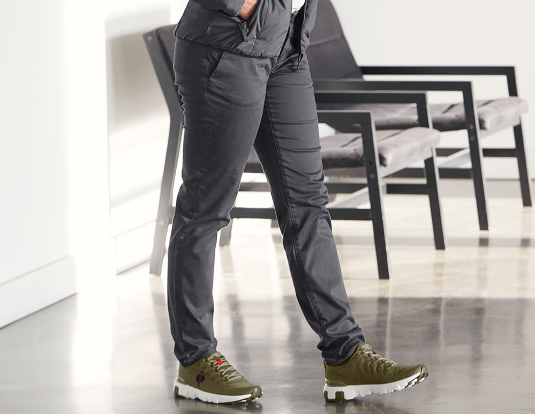 Work Trousers: e.s. 5-pocket work trousers Chino, ladies` + anthracite 1