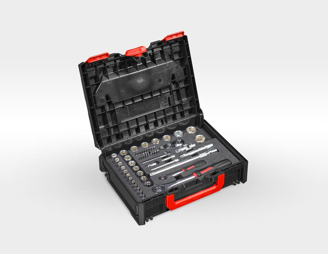 Tool Cases: Socket wrench set lockfix 1/4+1/2 in STRAUSSbox