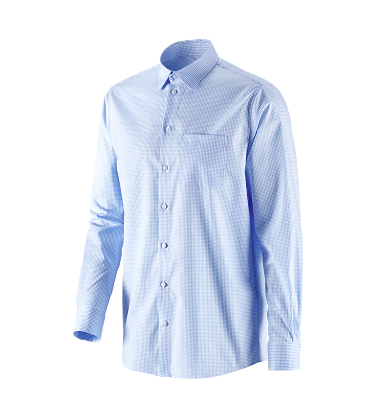 Shirts, Pullover & more: e.s. Business shirt cotton stretch, comfort fit + frostblue checked
