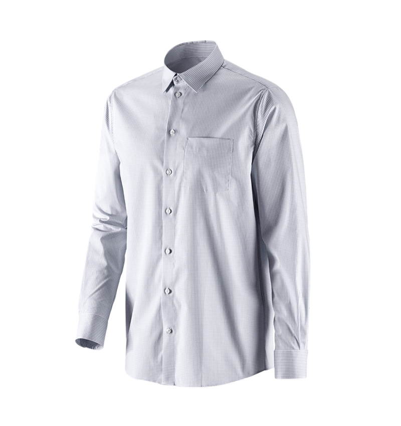 Shirts, Pullover & more: e.s. Business shirt cotton stretch, comfort fit + mistygrey checked