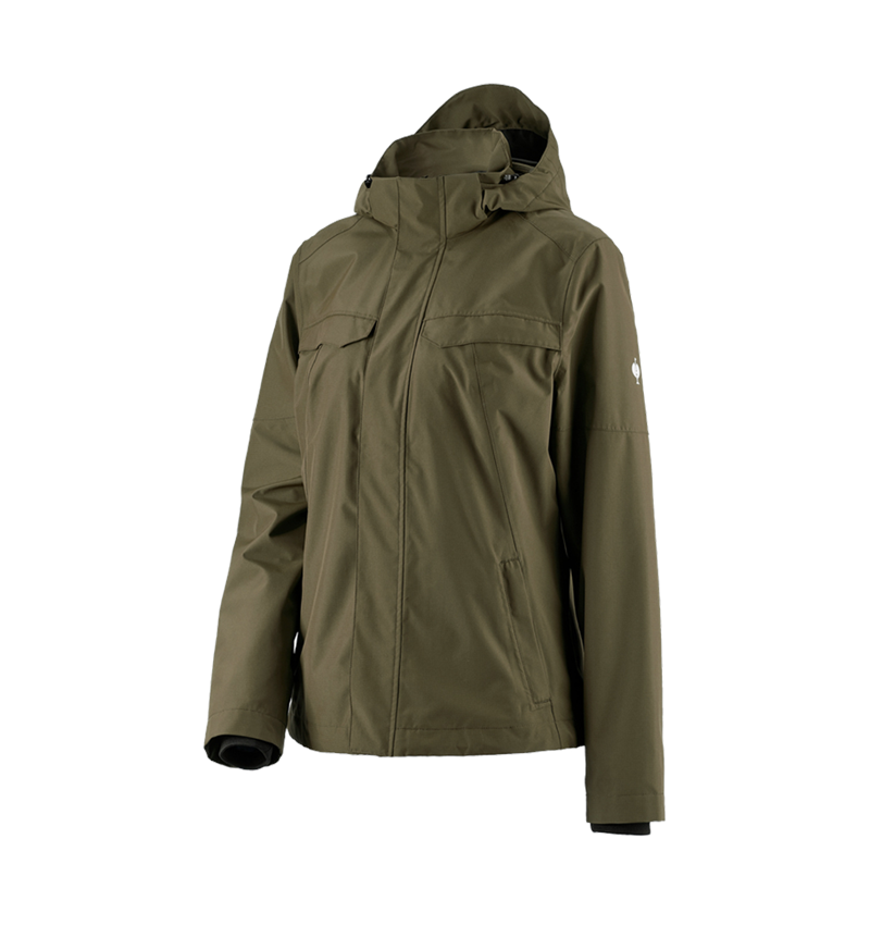 Work Jackets: Rain jacket e.s.concrete, ladies' + mudgreen