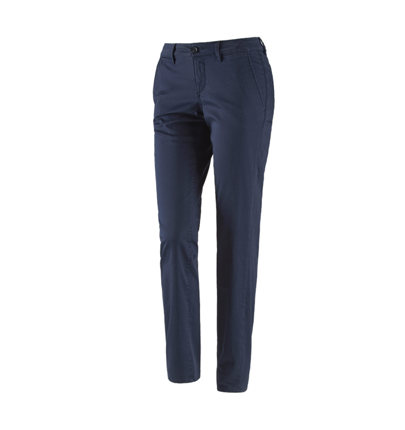 Work Trousers: e.s. 5-pocket work trousers Chino, ladies` + navy