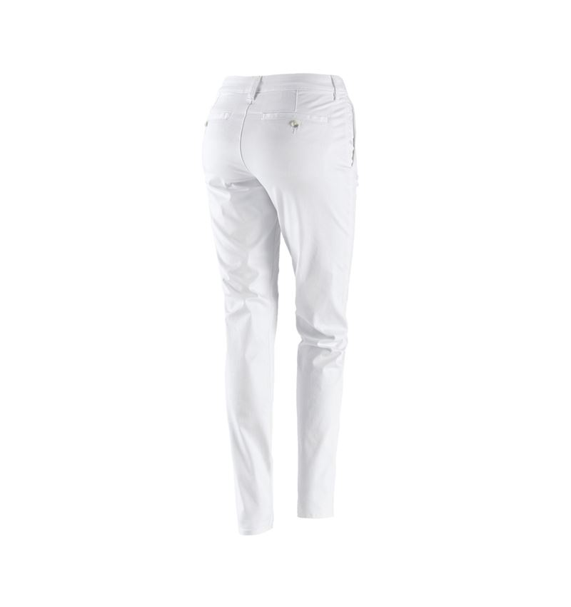 Work Trousers: e.s. 5-pocket work trousers Chino, ladies` + white 2