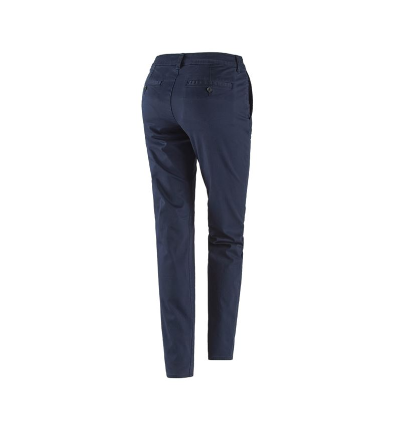 Work Trousers: e.s. 5-pocket work trousers Chino, ladies` + navy 2