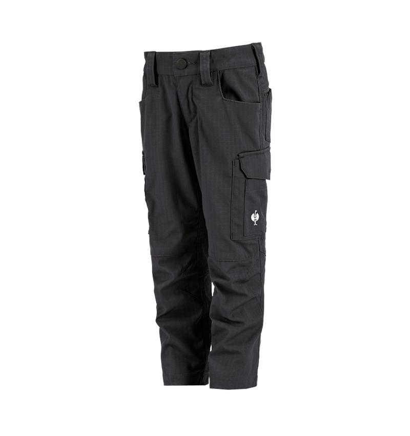 Trousers: Trousers e.s.concrete solid, children's + black