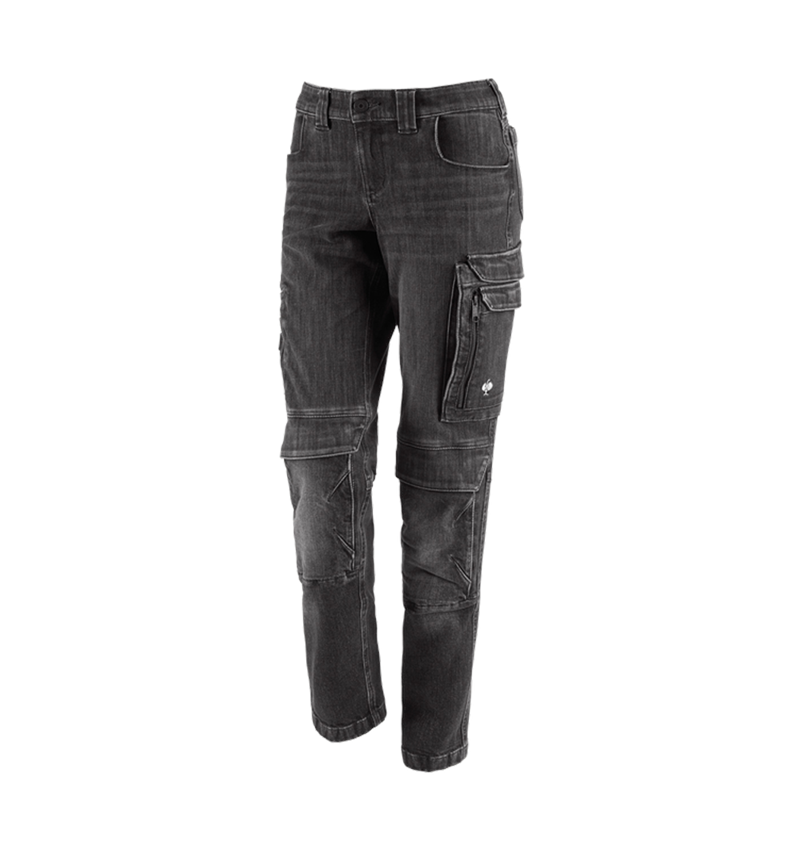 Work Trousers: Cargo worker jeans e.s.concrete, ladies' + blackwashed