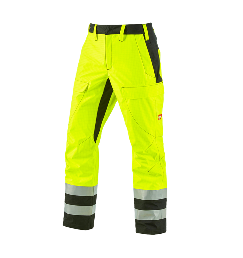 Work Trousers: e.s. Weatherproof trousers multinorm high-vis + high-vis yellow/black