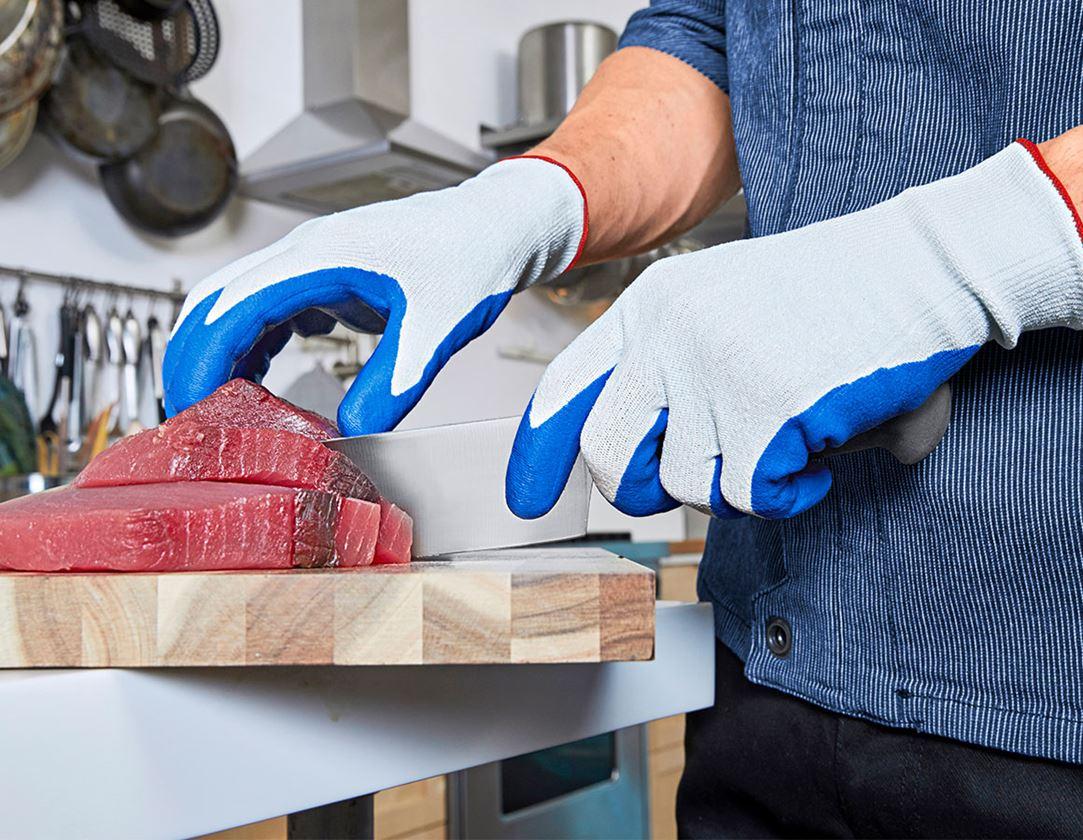 Coated: e.s. Nitrile gloves evertouch cut + blue/lightblue-melange