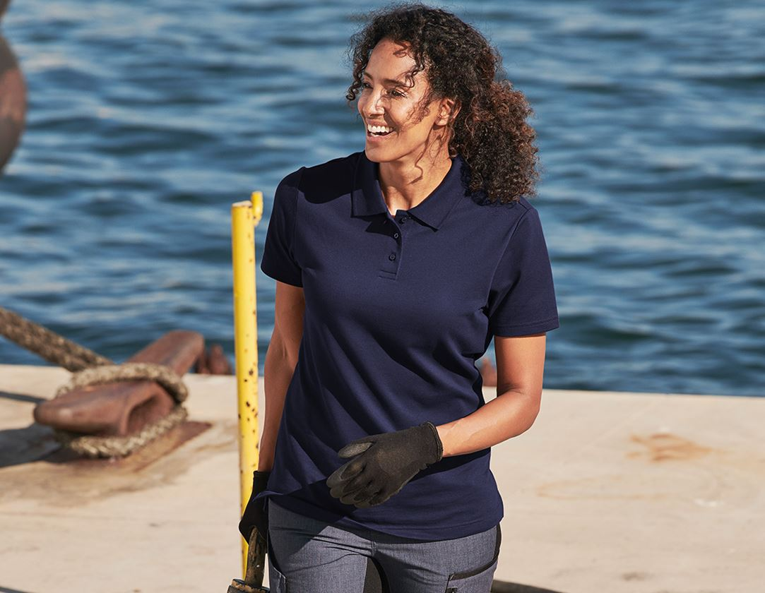 Shirts, Pullover & more: e.s. Functional polo shirt poly cotton, ladies' + navy