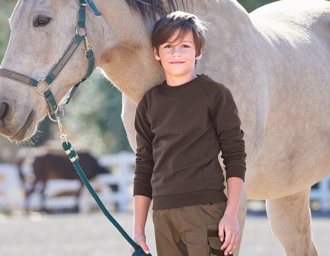 Shirts, Pullover & more: e.s. Sweatshirt cotton stretch, children's + chestnut