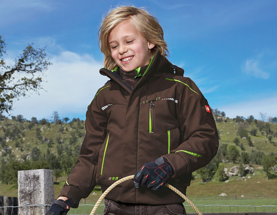 Jackets: Winter softshell jacket e.s.motion 2020,children's + chestnut/seagreen