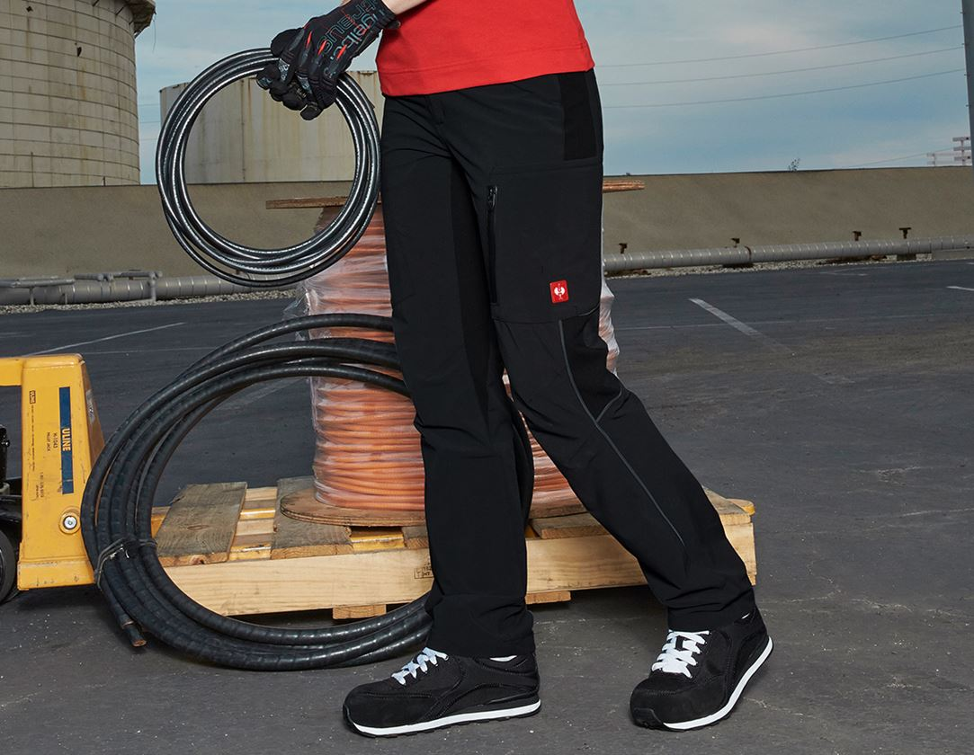 Work Trousers: Cargo trousers e.s.vision stretch, ladies' + black
