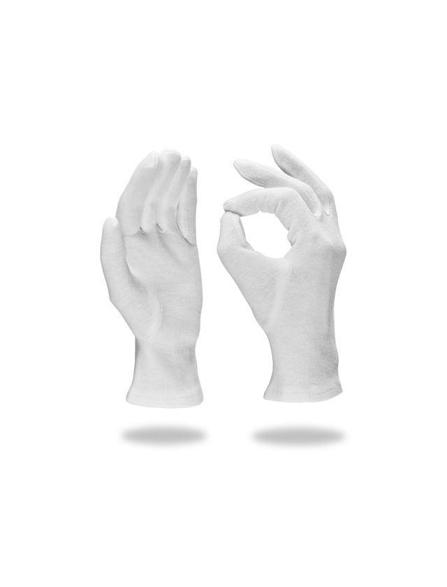Textile: Cotton fourchette gloves, white, pack of 12 + white