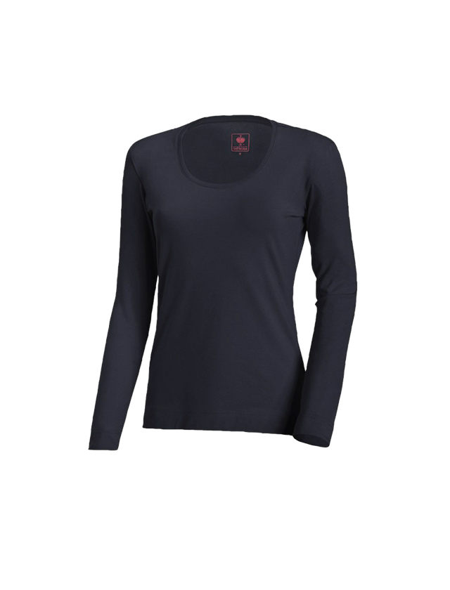 Shirts, Pullover & more: e.s. Long sleeve cotton stretch, ladies' + navy