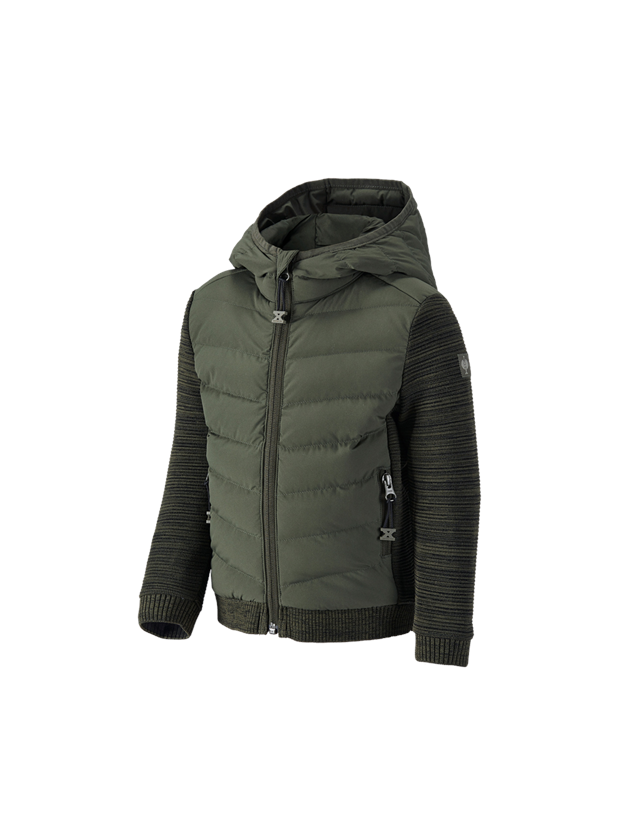 Jackets: Hybridhooded knitted jackete.s.motion ten,child. + disguisegreen melange