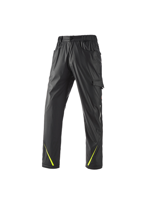 Work Trousers: Rain trousers e.s.motion 2020 superflex + black/high-vis yellow/high-vis orange