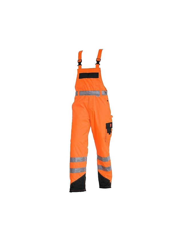 Work Trousers: High-vis thermal bib & brace e.s.image + high-vis orange