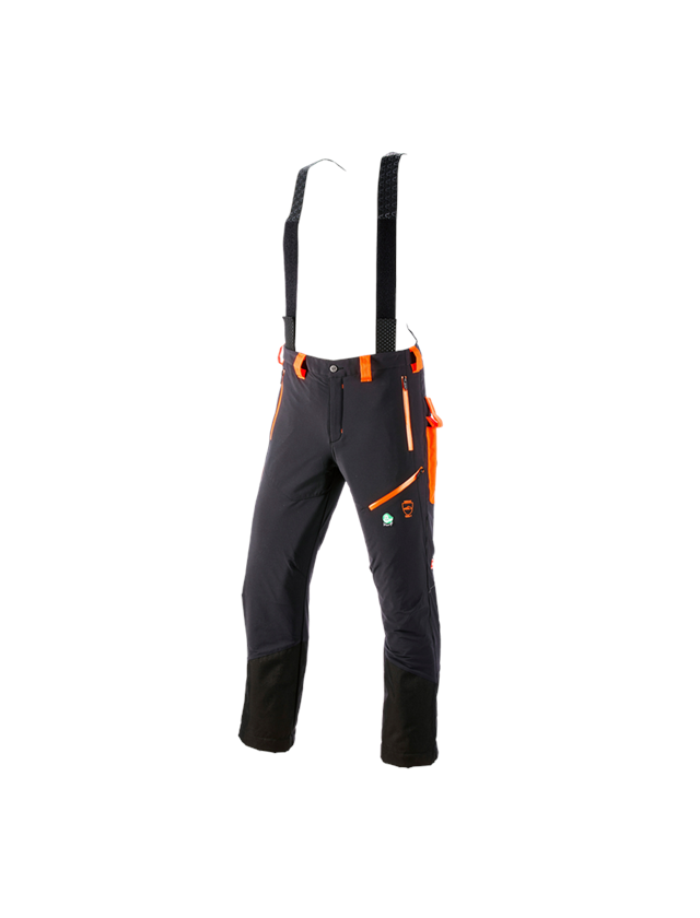 Work Trousers: Cut protection trousers e.s.vision + black/high-vis orange