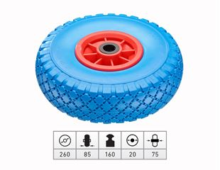 Spare polyurethane wheel with plastic wheel rim