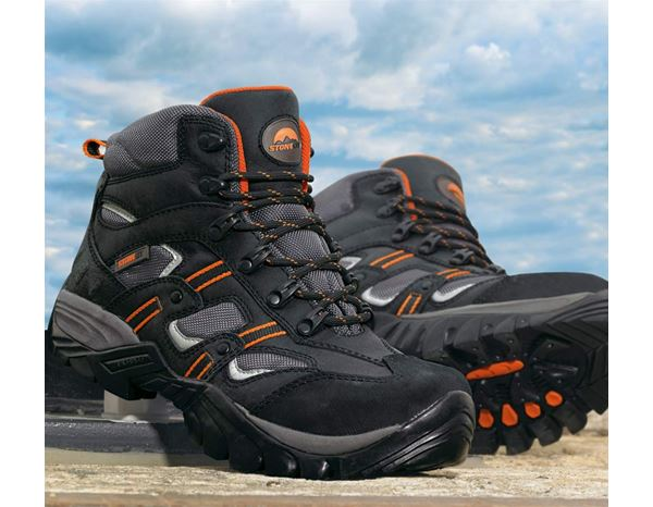 Safety Shoes S3: STONEKIT S3 Safety boots Torino + black/orange 1
