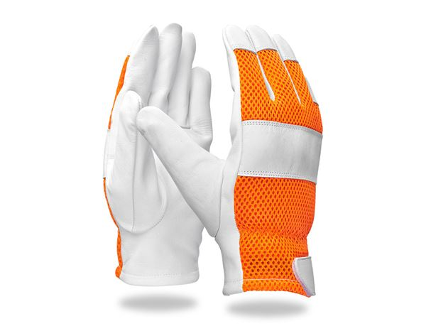 Leather: e.s. Leather gloves Mesh + orange