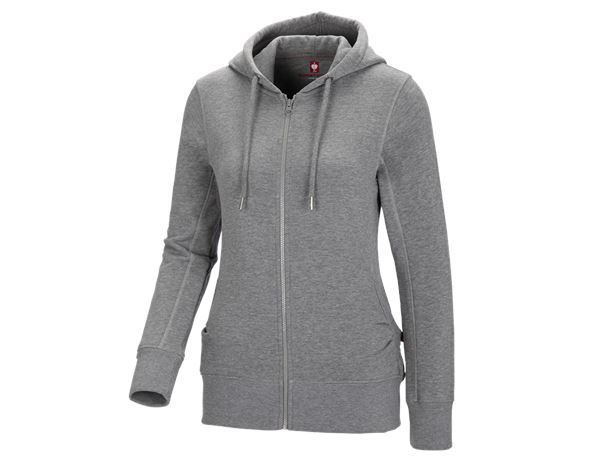 Shirts, Pullover & more: e.s. Hoody sweatjacket poly cotton, ladies' + grey melange