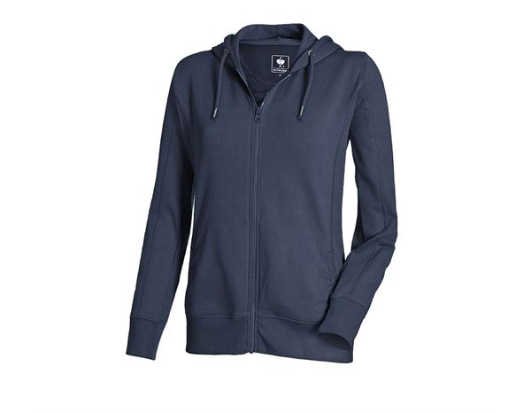 Shirts, Pullover & more: e.s. Hoody sweatjacket poly cotton, ladies' + navy