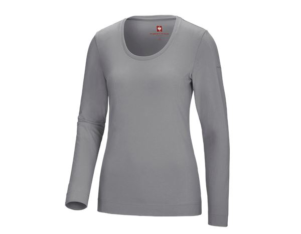 Shirts, Pullover & more: e.s. Long sleeve cotton stretch, ladies' + platinum