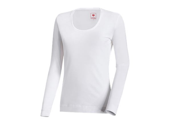 Shirts, Pullover & more: e.s. Long sleeve cotton stretch, ladies' + white