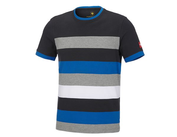 T-Shirts: e.s. Pique-Shirt cotton stripe + graphite/gentian blue