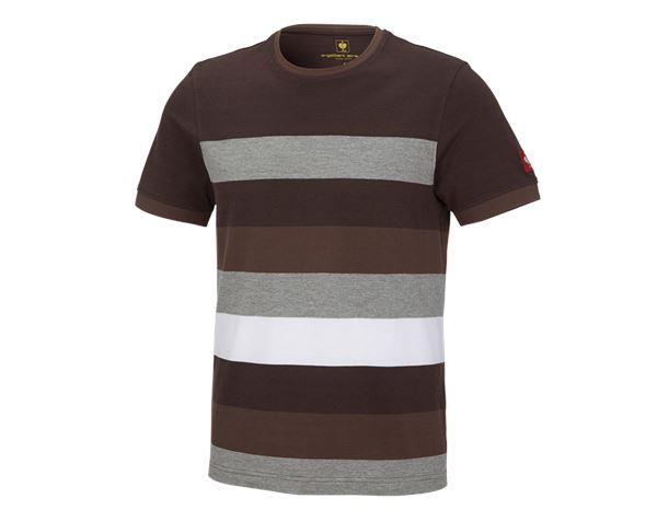Shirts, Pullover & more: e.s. Pique-Shirt cotton stripe + chestnut/hazelnut