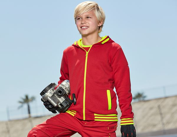 Shirts, Pullover & more: Hoody sweatjacket e.s.motion 2020, children's + fiery red/high-vis yellow