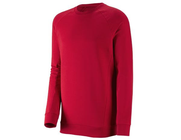 Pullover: e.s. Sweatshirt cotton stretch, long fit + fiery red