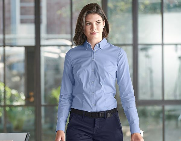 Shirts, Pullover & more: e.s. Business blouse cotton str. lad. regular fit + frostblue