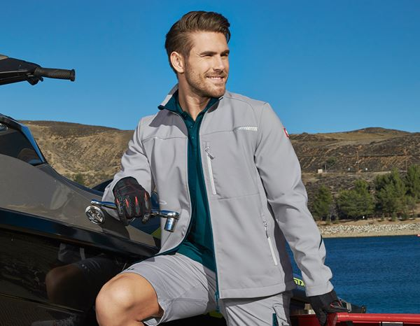 Work Jackets: Softshell jacket e.s.motion 2020 + platinum/seablue