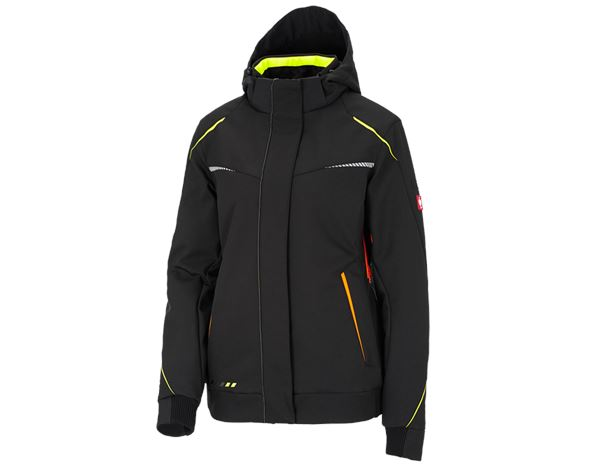 Work Jackets / Body Warmer: Winter softshell jacket e.s.motion 2020, ladies' + black/high-vis yellow/high-vis orange