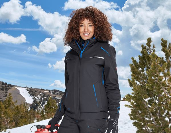 Work Jackets: Winter softshell jacket e.s.motion 2020, ladies' + graphite/gentian blue