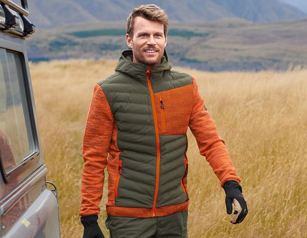 Work Jackets: Hybrid hooded knitted jacket e.s.motion ten + disguisegreen/high-vis orange melange